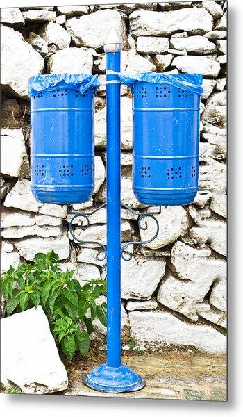 Blue Bins Metal Print