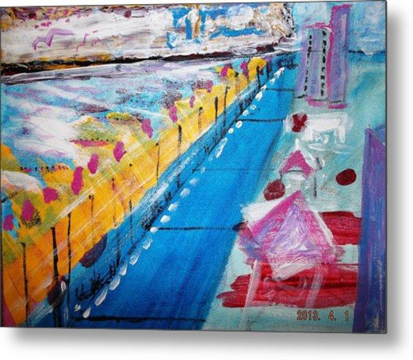 Blue Boardwalk Metal Print