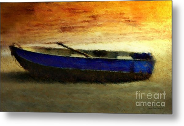Blue Boat At Sunset Metal Print