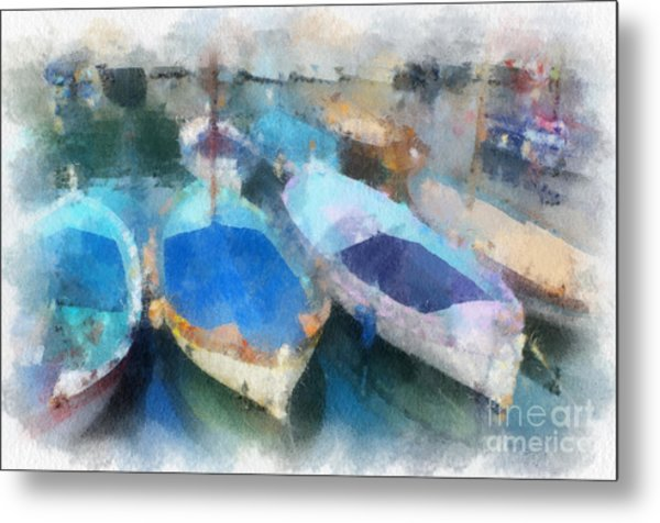 Blue Boats Metal Print
