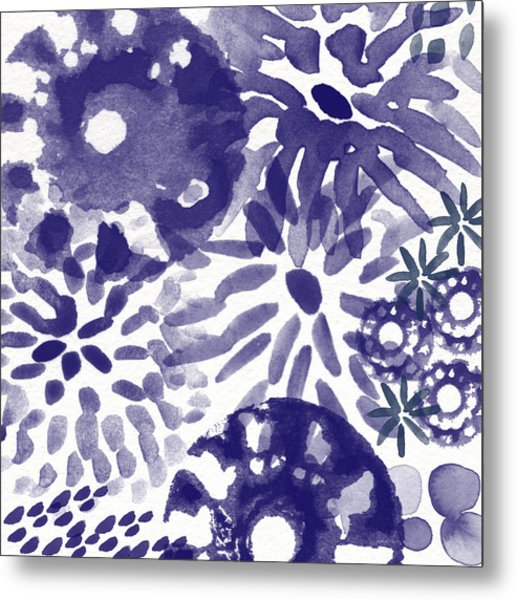 Blue Bouquet- Contemporary Abstract Floral Art Metal Print