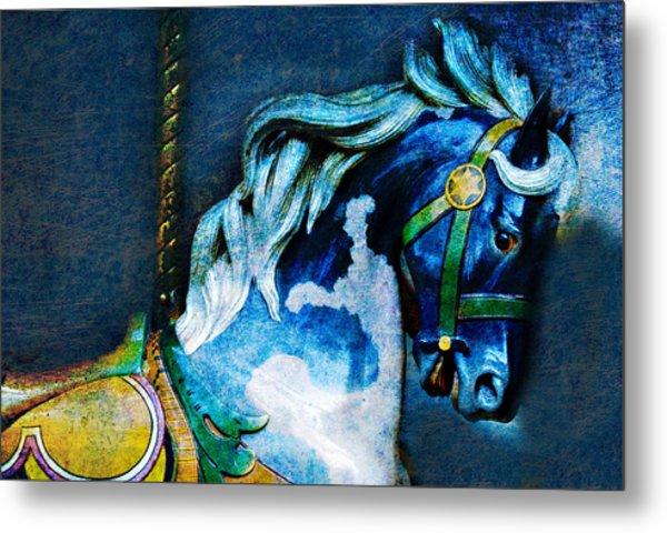 Blue Carousel Horse Metal Print