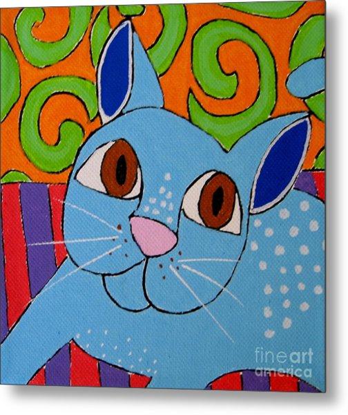 Blue Cat Metal Print by Susan Sorrell