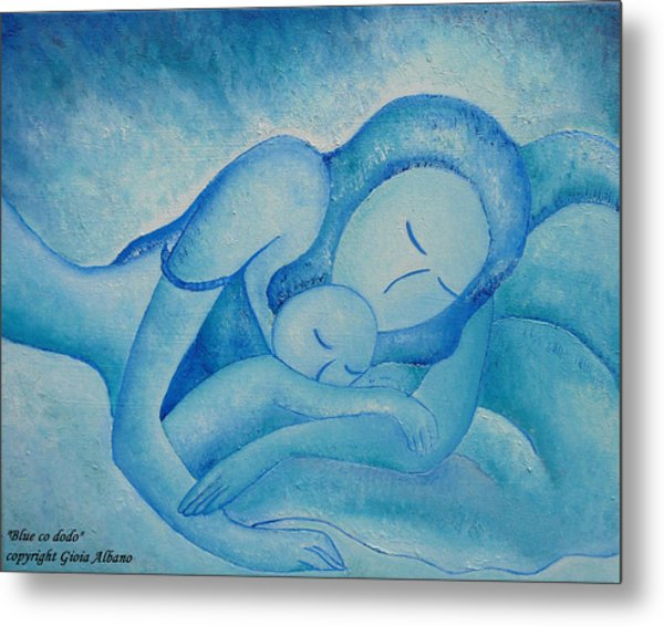 Blue Co Sleeping Metal Print
