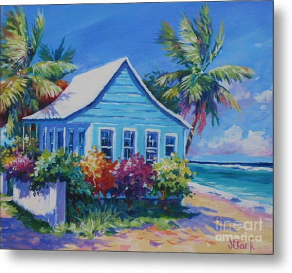 Blue Cottage On The Beach Metal Print