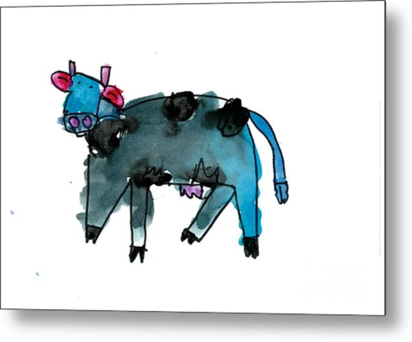Blue Cow Metal Print