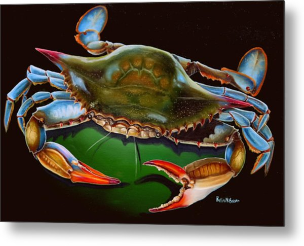 Blue Crab Open Claw Metal Print