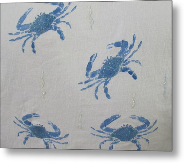 Blue Crabs On Sand Metal Print
