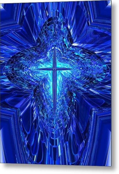 Blue Cross Metal Print
