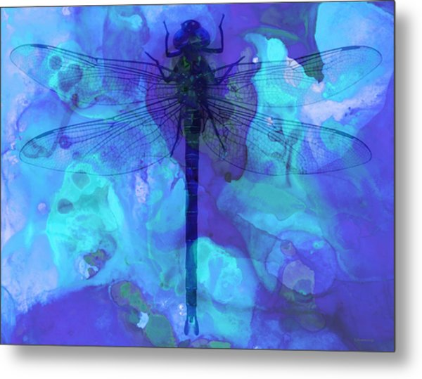 Blue Dragonfly By Sharon Cummings Metal Print