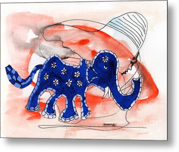 Blue Elephant In A Museum Metal Print