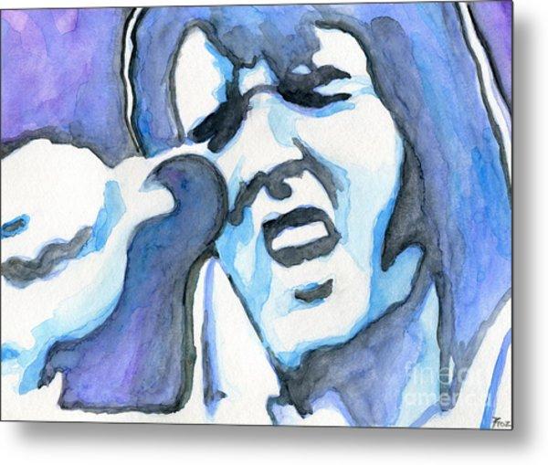 Blue Elvis Metal Print