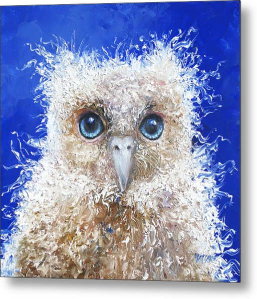 Blue Eyed Owl Painting Metal Print