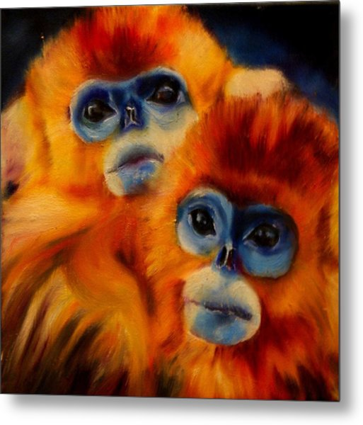 Blue Faced Monkey Metal Print
