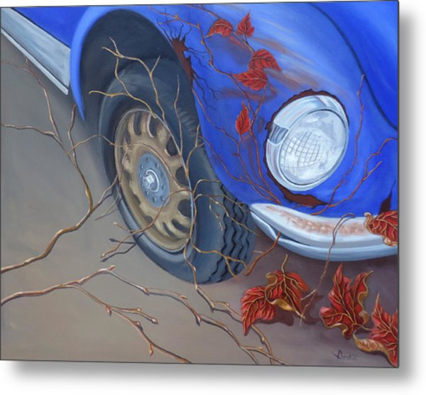 Metal Print featuring the painting Blue Fender by Sally Banfill