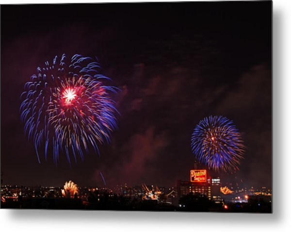 Blue Fireworks Over Domino Sugar Metal Print
