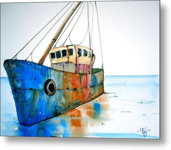 Blue Fishing Boat Metal Print by Maya Simonson