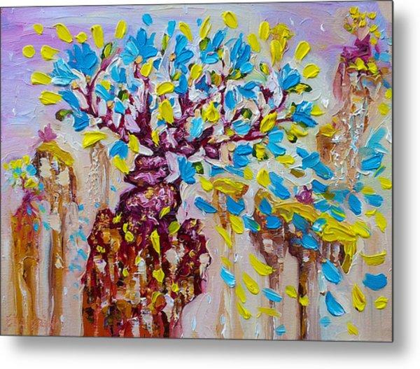 Blue Flower Painting Tree Art Oil On Canvas By Ekaterina Chernova Metal Print
