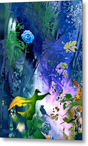 Blue Flower With Guardian Metal Print