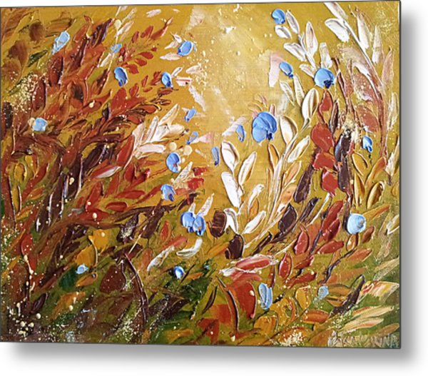 Blue Flowers Abstract Painting  Metal Print