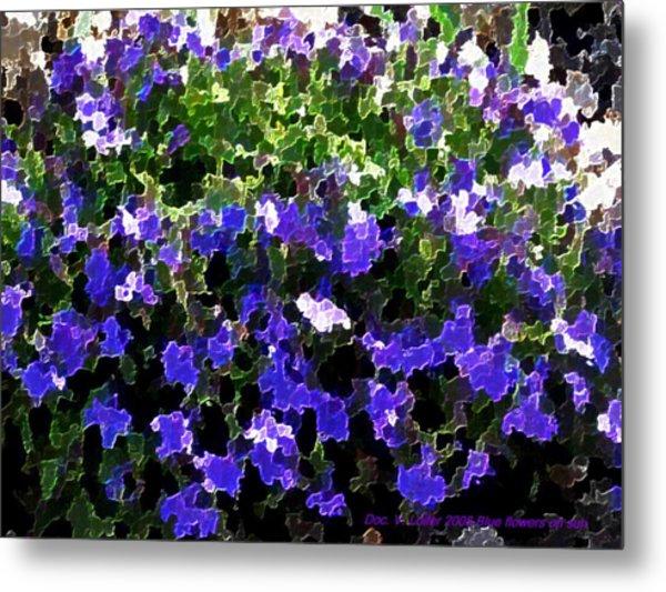 Blue Flowers On Sun Metal Print