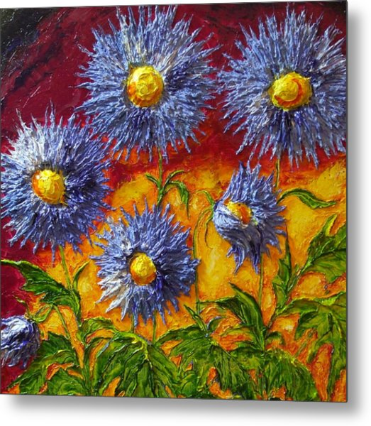 Blue Flowers Metal Print by Paris Wyatt Llanso