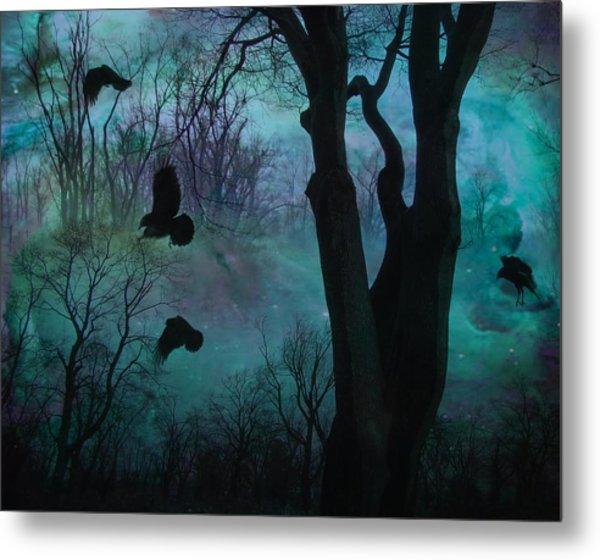 Blue Forest Blackbirds Dance Metal Print