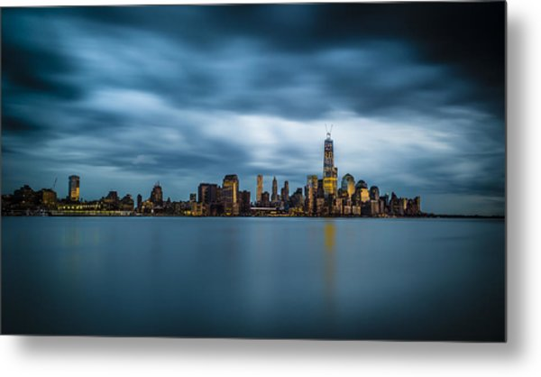 Blue Freedom Tower Metal Print by Chris Halford