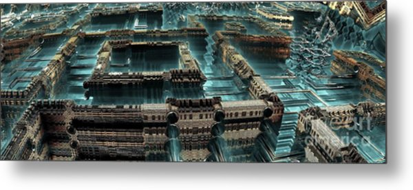 Blue Future City Metal Print by Bernard MICHEL