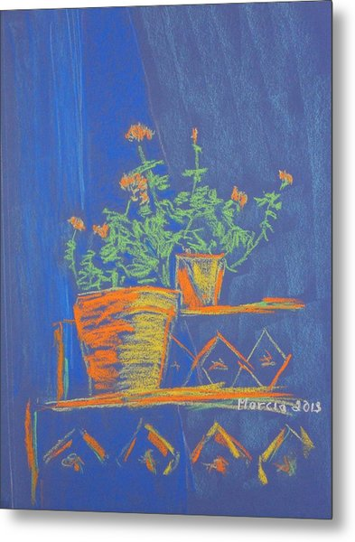 Blue Geranium Metal Print by Marcia Meade