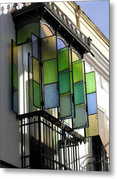 Blue-green-gold Windows In Cordoba Metal Print by Jacqueline M Lewis