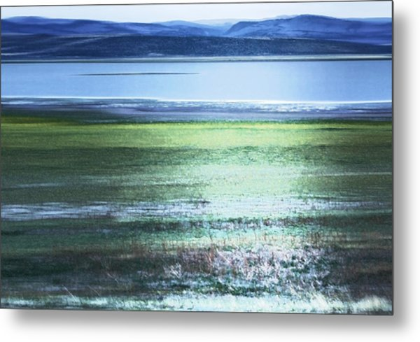 Blue Green Landscape Metal Print