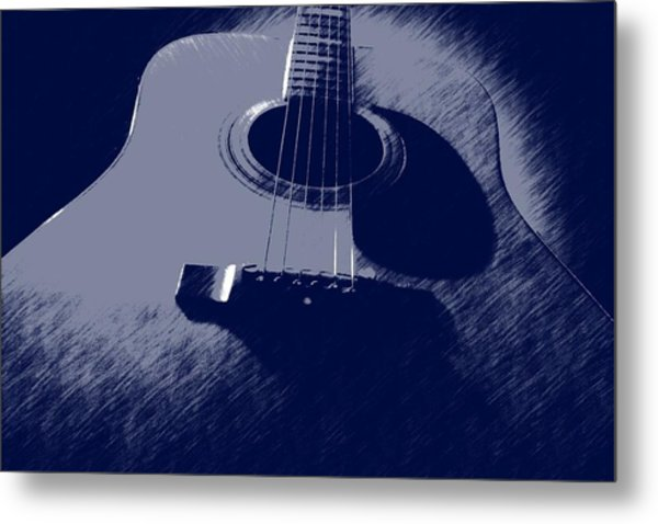 Blue Guitar Metal Print