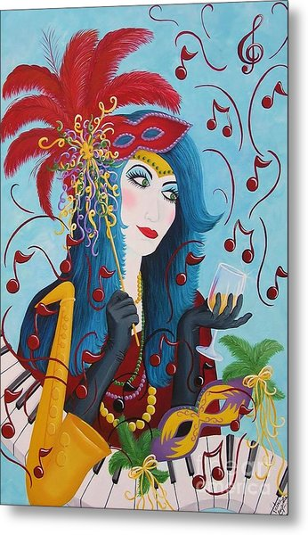 Blue Haired Lady Metal Print