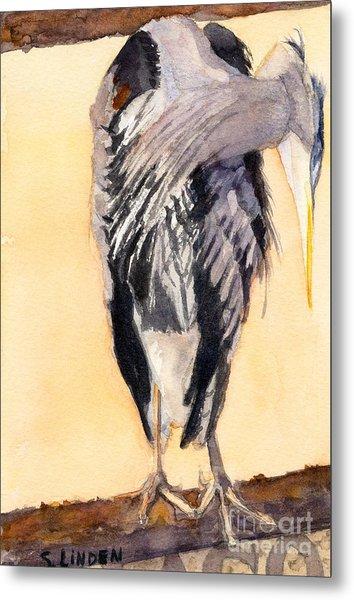 Blue Heron - Left Metal Print by Sandy Linden