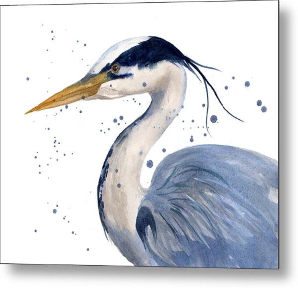 Blue Heron Painting Metal Print