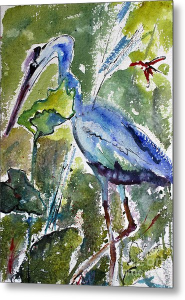 Blue Heron Stalking Watercolor Metal Print