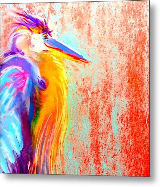 Funky Blue Heron Bird Metal Print