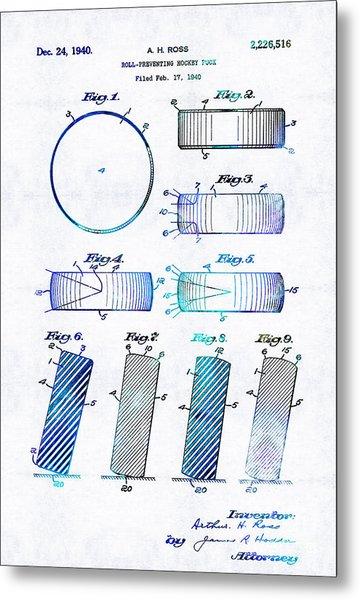 Blue Hockey Art - Hockey Puck Patent - Sharon Cummings Metal Print