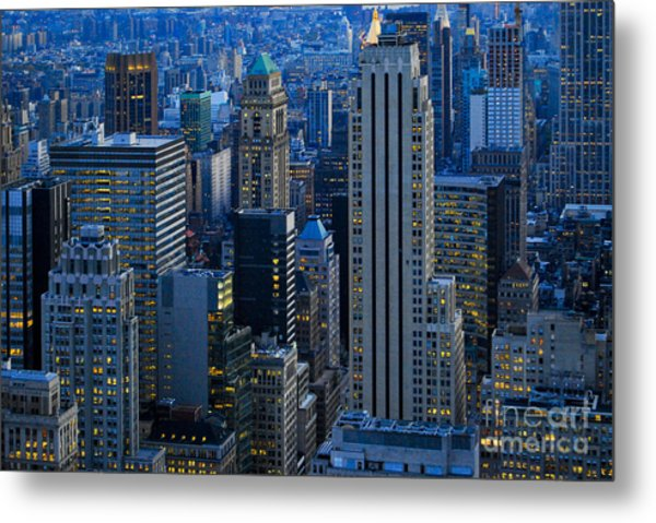 Blue Hour In New York City Usa Metal Print