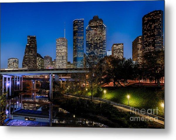Blue Hour On Buffalo Bayou Metal Print by Dee Zunker