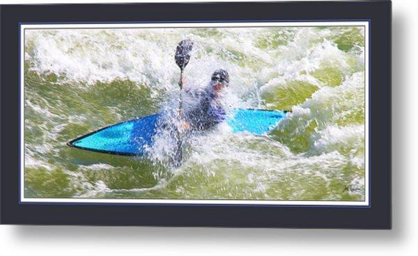 Blue Kayak At Great Falls Md Metal Print