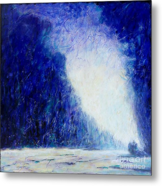 Metal Print featuring the painting Blue Landscape - Abstract by Cristina Stefan