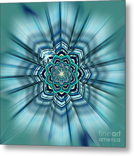 Blue Lotus Mandala Metal Print