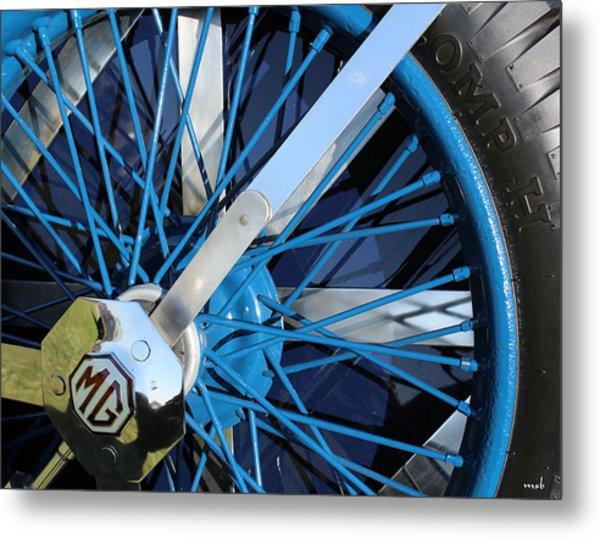 Blue Mg Wire Spoke Rim Metal Print by Mark Steven Burhart