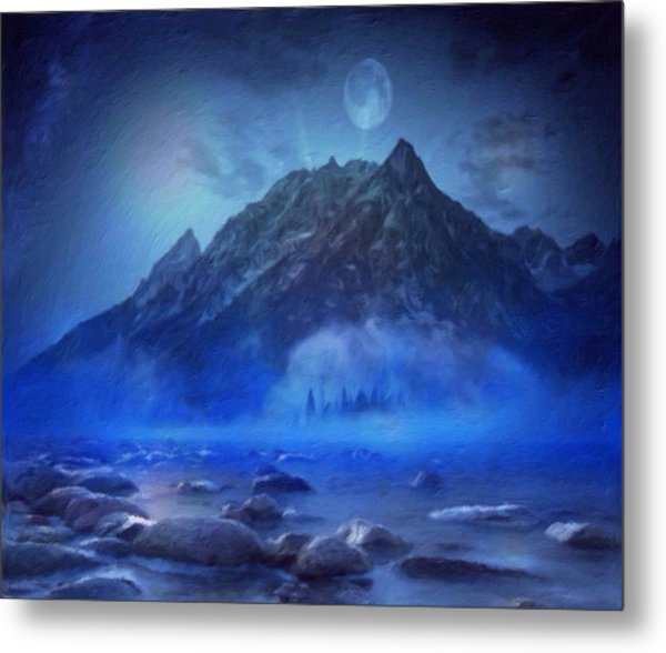 Blue Mist Rising Metal Print