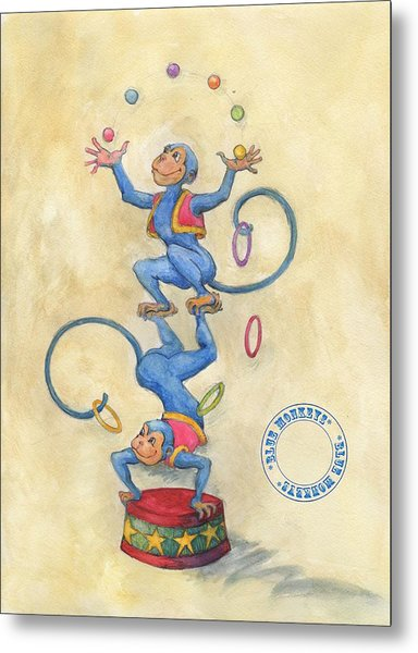 Blue Monkeys Metal Print