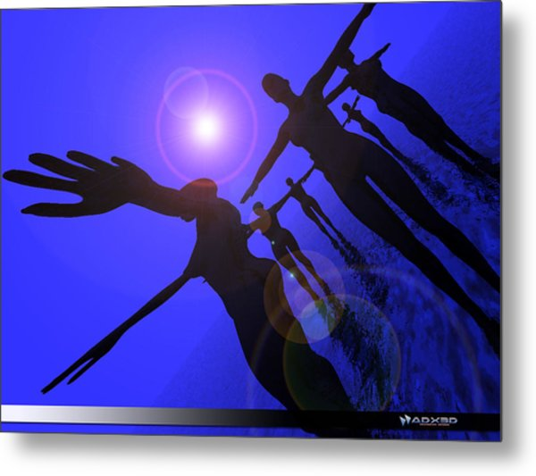 Blue Moon Dancers Metal Print