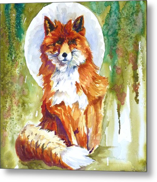 Blue Moon Fox Metal Print