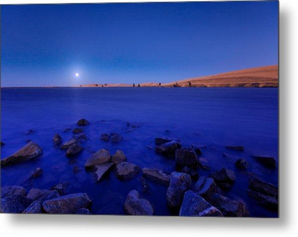 Blue Moon On The Rocks Metal Print